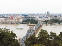 Famous chain bridge in Budapest. Royalty Free Stock Photo