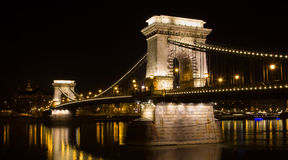 The famous chain bridge Széchenyi Lánchíd in Budapest at night Royalty Free Stock Photography