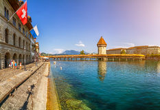 Famous Chapel Bridge in the historic city of Lucerne, Switzerland Royalty Free Stock Photo