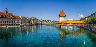 Famous Chapel Bridge in the historic city of Lucerne, Switzerland Royalty Free Stock Image