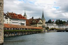 Famous Chapel bridge in Lucerne in a beautiful summer day, Switz royalty free stock image