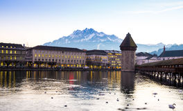 The famous Chapel Bridge in Lucerne, Switzerland Royalty Free Stock Image