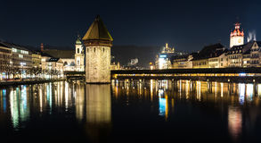 The famous Chapel Bridge in Lucerne, Switzerland Stock Images