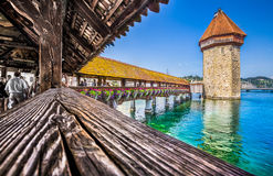 Famous Chapel Bridge in Lucerne, Switzerland Stock Image
