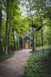 Famous Chapel in the woods Eureka Springs. Famous Thorncrown Chapel in the woods of Eureka Springs Royalty Free Stock Image