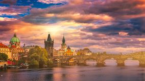 Free Famous Charles Bridge In The Sunset Light, Beautiful Scenary And Royalty Free Stock Photos - 114726858