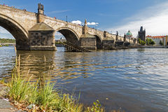 Famous Charles Bridge. Nice old Bridge over river Vltava, Prague, Czech Republic Royalty Free Stock Photography