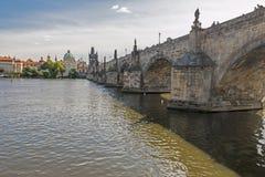 Famous Charles Bridge. Nice old Bridge over river Vltava, Prague, Czech Republic Royalty Free Stock Photo