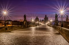 Famous Charles Bridge in Prague at sunrise. stock photo