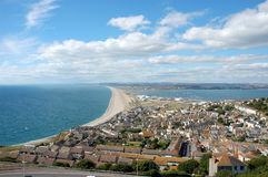 Famous Chesil beach near Portland, England Stock Images