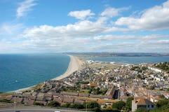 Famous Chesil beach near Portland, England Stock Images