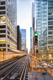 Famous Chicago train arrives. Royalty Free Stock Photography