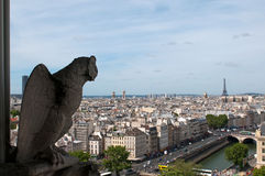Famous Chimera overlooking the Paris Stock Image