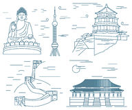 Famous China skyline landmarks thin line.  Stock Images