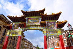 Famous Chinatown gate in Liverpool Royalty Free Stock Photo