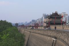 Famous Chinese ancient architecture stone city wall in Xian China