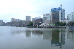 Famous chinese architecture. Jiujiang yanshuiting,famous chinese architecture be encompassed with water stock images