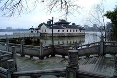 Famous chinese architecture. Jiujiang yanshuiting,famous chinese architecture be encompassed with water Stock Photo