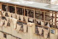 The famous Chouara Tannery in the medina of Fez. The leather tannery dates back to the 11th century AD. The medina is the oldest w Stock Photo