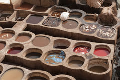 The famous Chouara Tannery in the medina of Fez. The leather tannery dates back to the 11th century AD. The medina is the oldest w Royalty Free Stock Photos