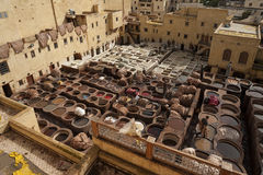 The famous Chouara Tannery in the medina of Fez. The leather tannery dates back to the 11th century AD. The medina is the oldest w Stock Photos