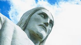 Famous Christ the Redeemer in the Rio de Janeiro, Brazil. Face of Christ the Redeemer royalty free stock photo