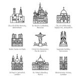 Famous Christian churches and cathedrals icons Royalty Free Stock Photography