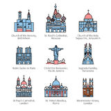 Famous Christian churches and cathedrals icons Stock Images