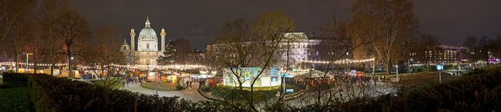 Karlskirche christmas market in Vienna stock photos