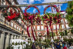 Famous Christmas Market In Madrid, Spain. Royalty Free Stock Photos