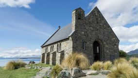 The Church of the Good Shepherd ashore of lake Te Kapo, New Zealand stock photos