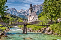 Famous church in the idyllic mountain village Ramsau, Bavaria, Germany Stock Images