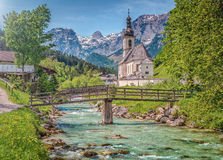Famous church in the idyllic mountain village Ramsau, Bavaria, Germany Royalty Free Stock Photos