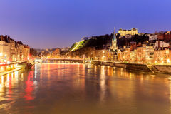 Famous church in Lyon with Saone river Royalty Free Stock Images