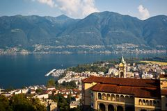 Famous Church of Madonna del Sasso in Locarno Stock Photo