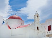 The famous church  in Mykonos Stock Photos