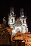 The famous church of Our Lady before Tyn at night in Prague Stock Image