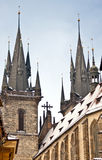 Famous Church of our lady before Tyn in Prague Stock Photo