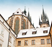 Famous Church of our lady before Tyn in Prague Stock Images