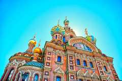 Famous church of the Savior on Spilled Blood in Saint Petersburg. Closeup of famous church of the Savior on Spilled Blood in Saint Petersburg, Russia Stock Photo