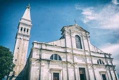 Famous Church of St. Euphemia, Istria, analog filter. Famous Church of St. Euphemia, Istria, Croatia. Travel destination. Religious architecture. Analog photo royalty free stock photos