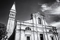 Famous Church of St. Euphemia, Istria, colorless. Famous Church of St. Euphemia, Istria, Croatia. Travel destination. Religious architecture. Black and white stock image
