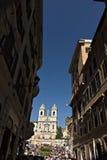 Trinità dei monti church and staircase in Rome royalty free stock image