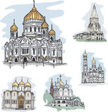 Famous churches and cathedrals in Mosocw, Russia. Set of famous churches and cathedrals in Moscow, Russia: The Christ the Savior Cathedral, The Church of the Royalty Free Stock Photos