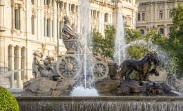 Famous Cibeles fountain square in Madrid, Spain Royalty Free Stock Photo