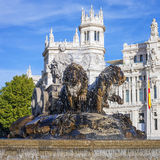 Famous Cibeles Palace and fountain Royalty Free Stock Photography