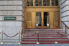 Famous Cipriani 25 Broadway Italian restaurant in Lower Manhattan. NEW YORK - AUGUST 3, 2017: Famous Cipriani 25 Broadway Italian restaurant in Lower Manhattan Stock Photography