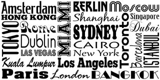 Famous Cities. Graphic design of famous cities and travel destinations of the world royalty free illustration
