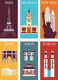 Famous cities collection. Famous cities in bright colors Royalty Free Stock Photo