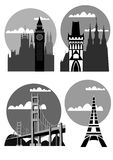 Famous cities and places - vector Royalty Free Stock Photo